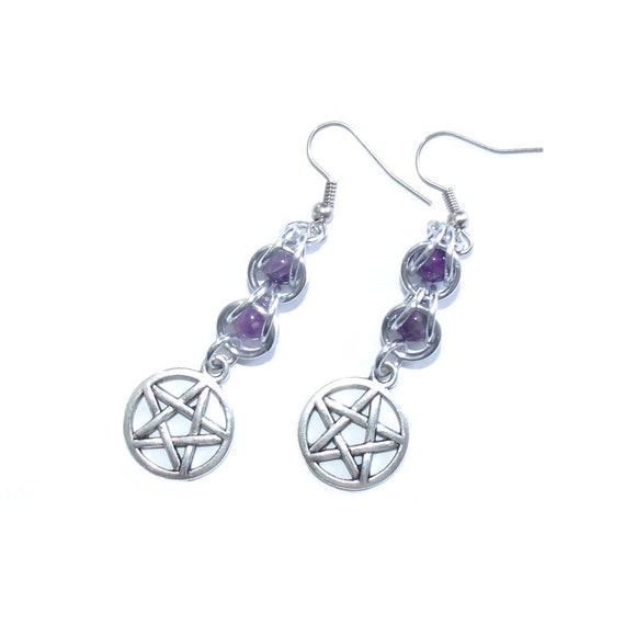 captive bead earrings captive bead pentacle earrings pentacle earring pagan 8499
