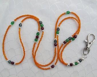 Orange Lanyard. Handmade Beaded ID Badge Holder. Necklace ID Holder. Orange Glass beads, Colorful Swarovski beads and Silver beads.