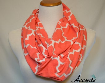Quatrefoil Emberglow Coral Infinity Scarf