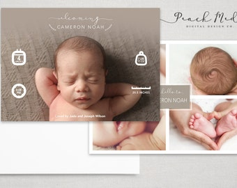 DIY - Birth Announcement | Photo Templates | Design 005