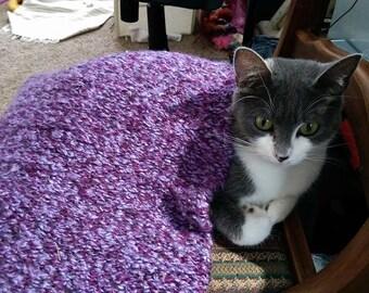 Cat Blanket, Custom Handwoven From Lightweight Yarn, Pick a Color, Optional Catnip, cat nap, catnip mat, kitten play, furniture cover
