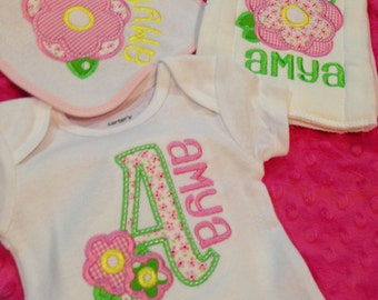 Onesie, Burp Cloth, and Bib Set- Monogram or Applique