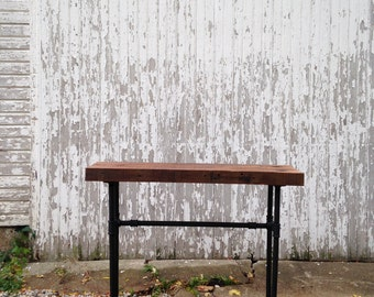Custom Reclaimed Barn Wood Industrial Pipe Console Entryway Table