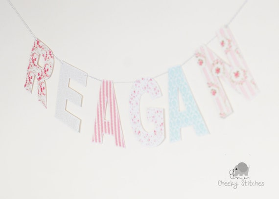 Shabby chic fabric name garland hanging name by cheekystitches for Shabby chic garland lights