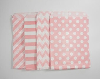Set of 40 Cookie Bags,Coral Pink Paper Bags 5x7,Chevron Paper Bags,Polka Dots Goodie Bags,Light Pink Popcorn Bags,Sailor Stripes Paper Bags,