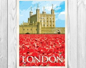 Vintage Style Tower of London Poppies A4 Poster