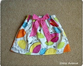 On sale! Size 5t girls skirt***Ready to ship in 5t***Retro mod print skirt, pink bow***Toddler girls skirt***Yellow, blue, pink, green color