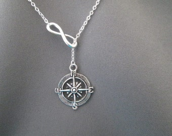 Compass Necklace - Lariat Necklace