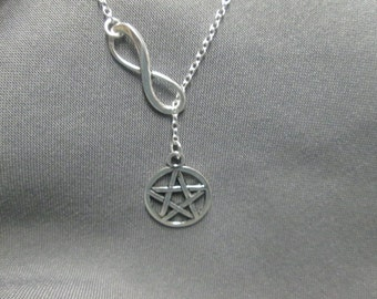 Infinity Pentagram Necklace - Lariat Style