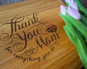 Personalized Mother's Day Cutting Board, Thank You Mom Cutting Board, Wedding Bridal Shower Gift for Mom and Mother-In-Law, Birthday Present