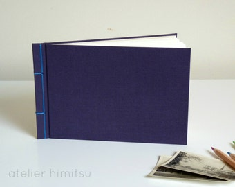 Travel diary. Guestbook. Japanese bookbinding. Canvas. Blue. Minimalist.