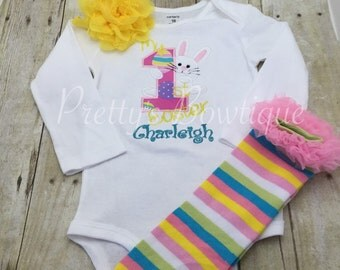 Girls 1st Easter outfit shirt or bodysuit, legwamers, and headband. Babies First Easter outfit shirt, headband, and legwamers