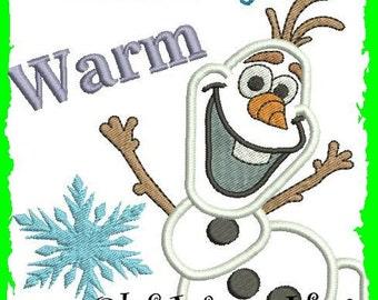 Frozen Olaf  I like warm hugs Appliqué design, Machine Embroidery, Embroidery pattern
