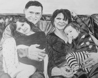 """11""""x14"""" Personalized Custom Portrait from Photo. Custom Couple Portrait. Pencil and charcoal. Family Portrait. Mother's Day gift"""