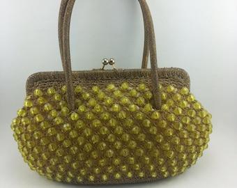 Vintage Beaded Purse/ Italian Handbag/ Barbara Lee / Crotchet Purse