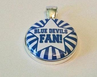 Blue and White Star Stripe Blue Devils Fan Duke Inspired Round Silver Pendant