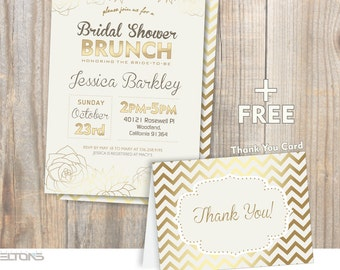 Bridal Brunch Shower Invitation - Golden Flowers / White and gold Printable invitation / DIY