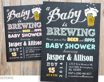 Baby is Brewing Baby Shower / BabyQ Party invitation / Beer Baby Shower / co-ed BBQ baby shower / DIY