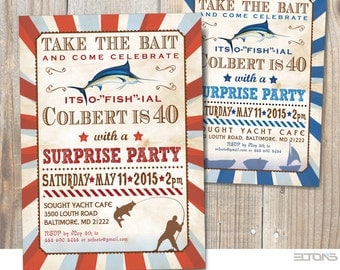Marlin Fishing Birthday Party Invitation /  Announcement with Fish Marlin / Bucks Fishing Weekend Invite / Printable