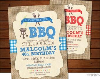 40th Birthday Burlap Party Invitation / BBQ Canvas Party Invitation / 30th 40th 50th....birthday