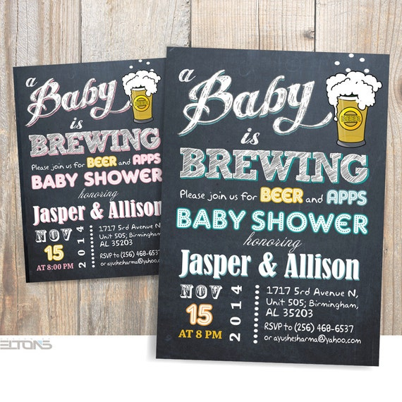 baby is brewing baby shower / babyq party invitation / beer,