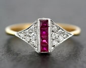 Art Deco Ruby Ring - Antique Ruby & Diamond 18ct Gold and Platinum Art Deco Ring