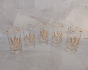 Vintage Juice Glasses, Gilded Wheat Image-Design, Gilded Rim, 5 Glasses