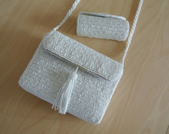Beaded White Shoulder Bag Party Wedding Bridal Formal Clutch Purse with Matching Lipstick Case