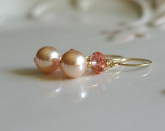 Swarovski pearl earrings - 14k gold fill French hook ear wires - pearl drop earrings, wedding earrings - bridal earrings - gift for her