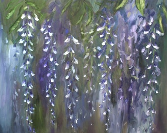 "Wisteria Oil Painting Abstract Art Original // ""Wispy"" 24 x 20"" Canvas"