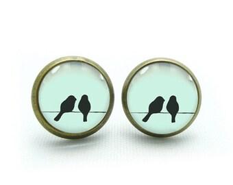 two birds on wire earrings bird stud earrings jewelry- with free jewelry box