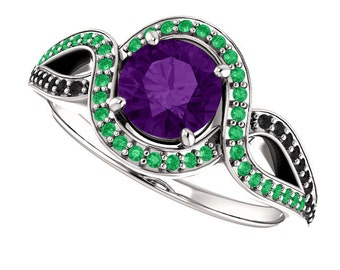 Natural Amethyst, Emerald and Black Diamonds 14K White Gold