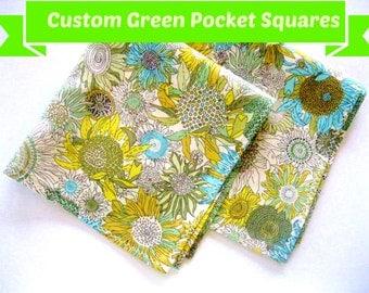 Green Floral Pocket Square, Green Pocket Square, Liberty of London Pocket Square Handkerchief, mint pocket square, green hankie, green hanky
