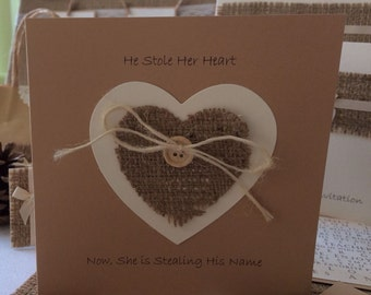 He Stole Her Heart Rustic Hessian Vintage Wedding Invitation X 10