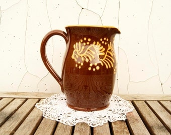 Vintage Wetheriggs of Penrith Slipware Pottery  Brown Pitcher