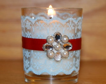 Turquoise Wedding / Wedding Votive Candle Holder / Wedding Lighting / Nautical Wedding / Aqua Blue and Red Wedding Decor / Beach Wedding / 6