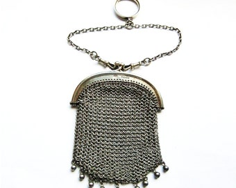 Antique sterling silver mesh purse with albert chain and two fobs and ring hallmarked London 1908 Edwardian 2 compartments