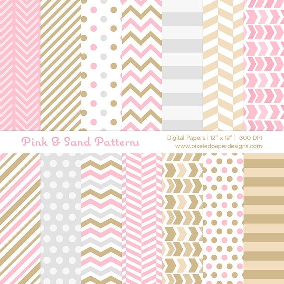 Digital Paper Pack - Pink & Sand - Stripes, Chevron, Dots Patterns for Scrapbook, Background, DIY, etc | Commercial License Available.
