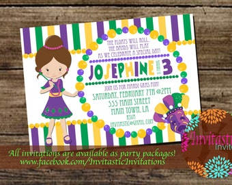 Mardi Gras Birthday Party Invitation - Mardi Gras Party Theme - Kids Mardi Gras Party Invitation -Printed Cards or Digital Copies available