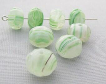 Snow Fern HurriCane 8x11mm Melon Czech Glass  Beads 10pc #2239