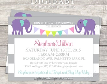 girl or boy baby shower invitation, chalkboard or white background optional, elephants and banners, printable digital file