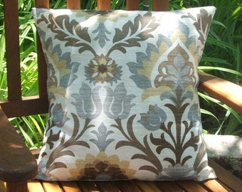 Brown, Taupe and Soft Grey Botanical Print Indoor/Outdoor Pillow Cover, 20 x 20 Inches