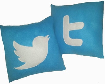 Two-Sided Twitter Inspired Fleece Pillow