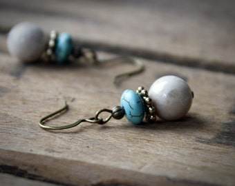 EARRINGS: Turquoise & Cream, Antique Gold, Handcrafted Artisan Quality