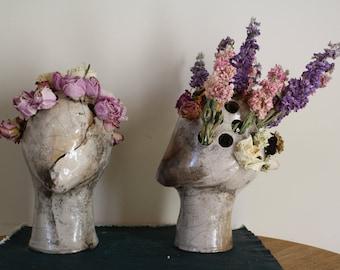 Handmade ceramic sculptural head vase