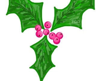 Holly Berry Clip Art, holly clip art, christmas clip art, holiday clip art, christmas clipart, invitation clipart, watercolor clipart
