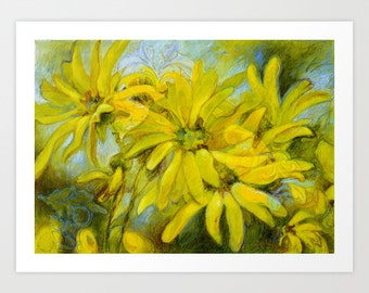 Colorful Print, Flower Art Print, Fine Art Print, Flower Print, Acrylic and Mixed Media Giclée Print, Choose Size, Free Shipping