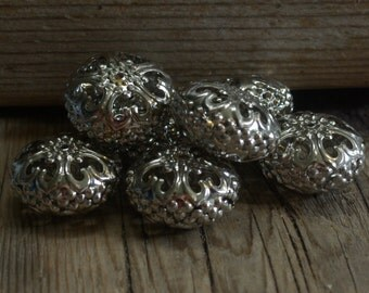 Delicate Filigree Unique Silver Beads - Bright Silver - Rondelle Shape - 10mm x 25mm - 20 Beads