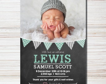 Chalkboard & Bunting Birth Announcement - Printable
