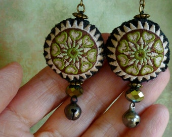 Hmong Embroidery Earrings, Tribal Boho Embroidered Earrings, Bohemian Chic, Textile Jewelry